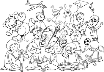 Black and White Cartoon Illustration of Children Characters Group Playing with Toys Coloring Book