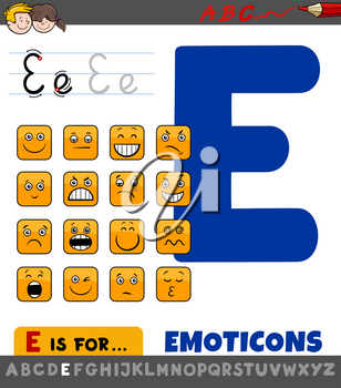 Educational Cartoon Illustration of Letter E from Alphabet with Emoticons for Children