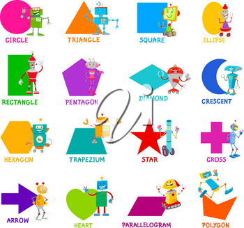 Educational Cartoon Illustration of Basic Geometric Shapes with Captions and Robots Fantasy Characters for Children