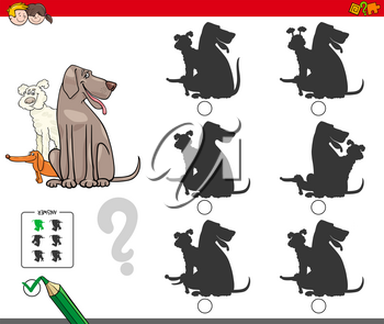 Cartoon Illustration of Finding the Shadow without Differences Educational Activity for Children with Dogs Animal Characters