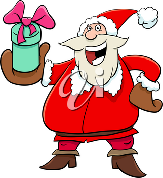 Cartoon Illustration of Santa Claus Character with Christmas Present