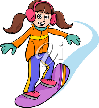 Cartoon Illustrations of Snowboarding Kid or Teen Girl Character on Winter Time