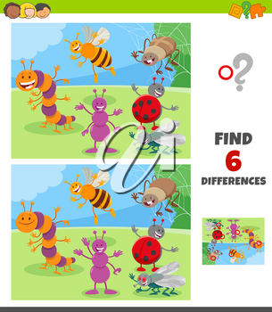 Cartoon Illustration of Finding Differences Between Pictures Educational Game for Children with Happy Insects Animal Characters