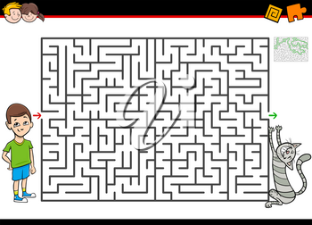 Cartoon Illustration of Educational Maze or Labyrinth Activity Game for Children with Boy and His Pet Cat