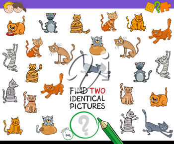 Cartoon Illustration of Finding Two Identical Pictures Educational Game for Kids with Cat Characters
