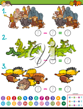 Cartoon Illustration of Educational Mathematical Subtraction Puzzle Game for Children with Animal Characters