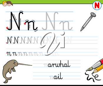 Cartoon Illustration of Writing Skills Practice with Letter N Worksheet for Preschool and Elementary Age Children