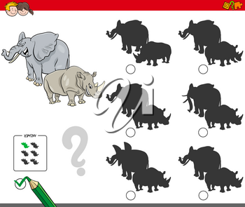 Cartoon Illustration of Finding the Shadow without Differences Educational Activity for Children with Elephant and Rhinoceros Animal Characters