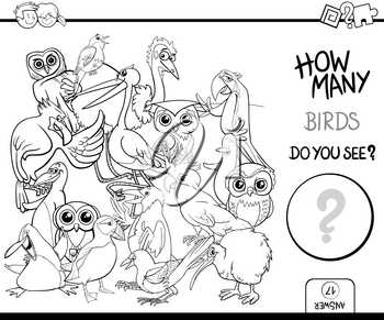Black and White Cartoon Illustration of Educational Counting Activity Game for Children with Bird Characters Coloring Page