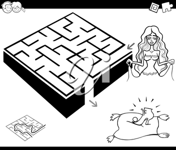 Black and White Cartoon Illustration of Education Maze or Labyrinth Game for Children with Cinderella Fantasy Character Coloring Page