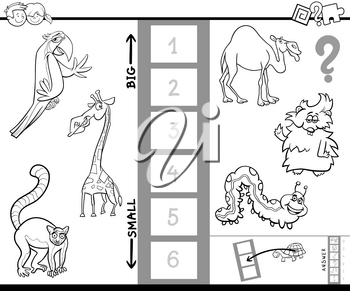 Black and White Cartoon Illustration of Educational Activity Game of Finding the Biggest and the Smallest Animal Creature Coloring Book