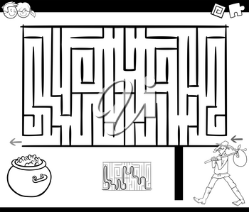 Black and White Cartoon Illustration of Education Maze or Labyrinth Game for Children with Wanderer Fantasy Character and Treasure Coloring Page