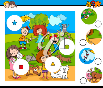 Cartoon Illustration of Educational Match the Pieces Jigsaw Puzzle Game for Kids with Happy Children and Pets
