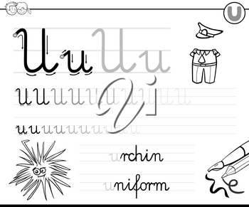 Black and White Cartoon Illustration of Writing Skills Practice with Letter U Worksheet for Preschool and Elementary Age Children Coloring Book