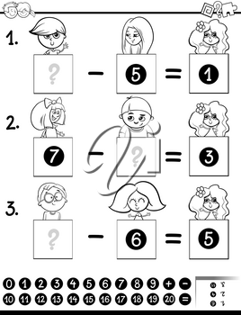 Black and White Cartoon Illustration of Educational Mathematical Subtraction Puzzle Game for Preschool and Elementary Age Children with Boys and Girls Characters Coloring Book
