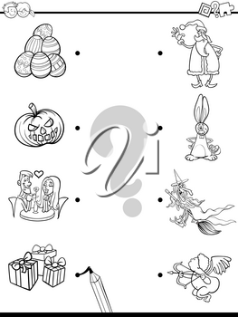 Black and White Cartoon Illustration of Educational Pictures Matching Game for Children with Holidays Characters and Objects Coloring Book