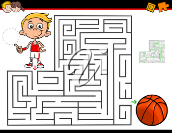 Cartoon Illustration of Education Maze or Labyrinth Activity Game for Children with Little Boy and Basketball