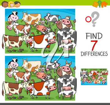 Cartoon Illustration of Finding Seven Differences Between Pictures Educational Activity Game for Kids with Cows Farm Animal Characters Group