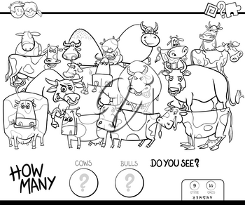 Black and White Cartoon Illustration of Educational Counting Game for Children with Cows and Bulls Farm Animals Characters Group Coloring Book