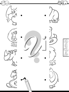 Black and White Cartoon Illustration of Educational Game of Matching Halves of Pictures with Cute Animals Color Book