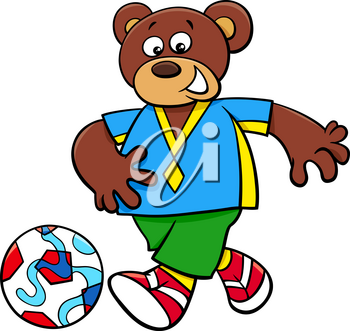 Cartoon Illustrations of Bear Football or Soccer Player Character with Ball