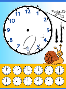 Cartoon Illustrations of Clock Face Telling Time Educational Worksheet for Children