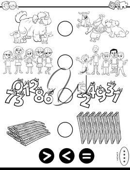 Black and White Cartoon Illustration of Educational Mathematical Puzzle Game of Greater Than, Less Than or Equal to for Preschool and Elementary Age Children Coloring Book