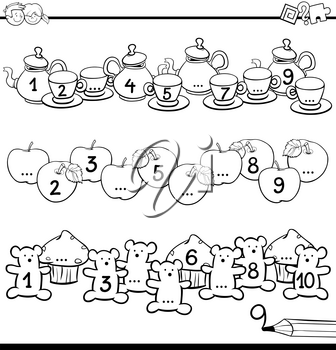 Black and White Cartoon Illustration of Educational Activity for Children with Count to Ten Workbook