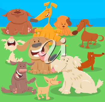 Cartoon Illustration of Dogs or Puppies Pet Animal Characters