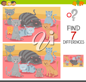Cartoon Illustration of Finding Seven Differences Between Pictures Educational Game for Children with Cat Characters