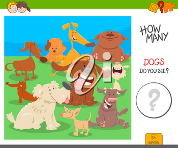 Cartoon Illustration of Educational Counting Activity Game for Kids with Dogs Animal Characters