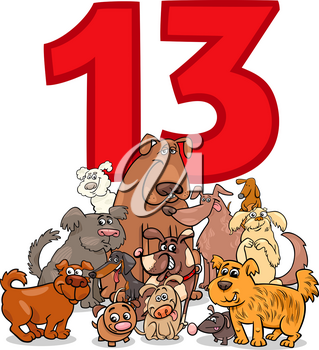 Cartoon Illustration of Number Thirteen and Dog Characters Group