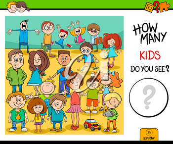 Cartoon Illustration of Educational Counting Activity Task with Children Characters