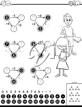 Black and White Cartoon Illustration of Educational Mathematical Calculation Puzzle Game for Kids Coloring Book
