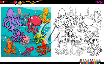 Cartoon Illustration of Octopus Sea Life Animal Characters Group Coloring Book Worksheet