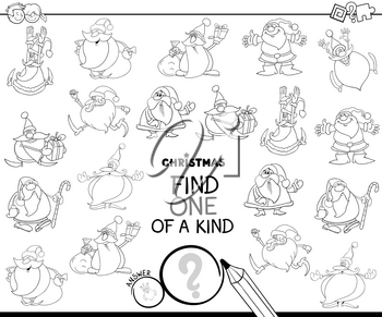 Black and White Cartoon Illustration of Find One of a Kind Picture Educational Game for Kids with Santa Claus Christmas Characters Coloring Book