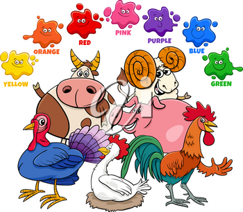 Educational Cartoon Illustration of Basic Colors for Children with Farm Animal Characters Group