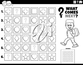 Black and White Cartoon Illustration of Completing the Pattern in the Rows Educational Task for Children Coloring Book Page