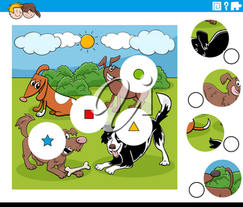 Cartoon Illustration of Educational Match the Pieces Jigsaw Puzzle Task for Children with Dogs Animal Characters Group