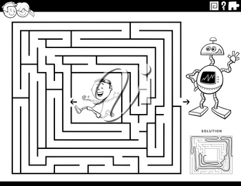 Black and White Cartoon Illustration of Educational Maze Puzzle Game for Children with Boy Character and Toy Robot Coloring Book Page