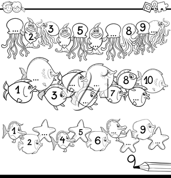 Black and White Cartoon Illustration of Educational Activity for Preschool Children with Count to Ten Worksheet Coloring Book