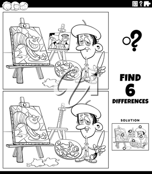 Black and white cartoon illustration of finding the differences between pictures educational game for children with painter artist coloring book page