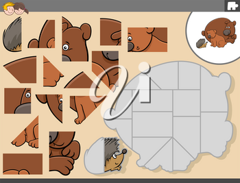 Cartoon illustration of educational jigsaw puzzle game for children with bears and hedgehog animal characters