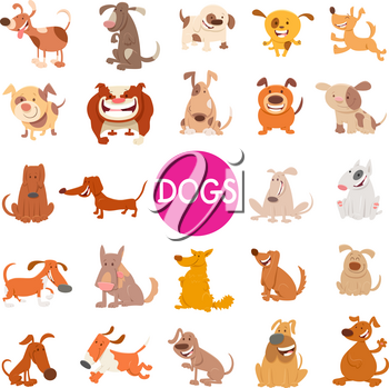 Cartoon Illustration of Cute Dogs Pet Animal Characters Large Set