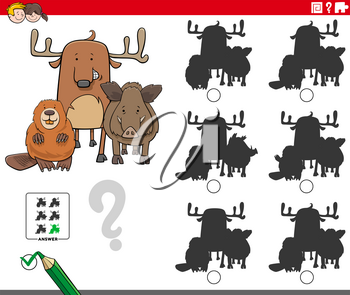 Cartoon Illustration of Finding the Shadow without Differences Educational Game for Children with Funny Animal Characters