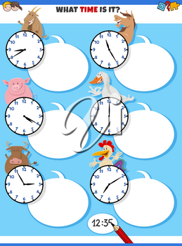 Cartoon illustrations of telling time educational task with clock faces and happy farm animal characters