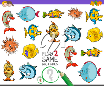 Cartoon Illustration of Finding Two Same Pictures Educational Activity Game for Children with Funny Fish Animal Characters
