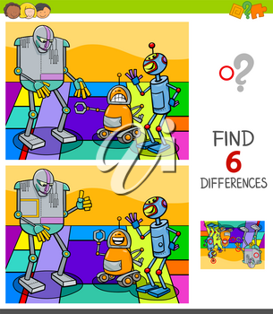 Cartoon Illustration of Finding Six Differences Between Pictures Educational Game for Children with Funny Robots Characters