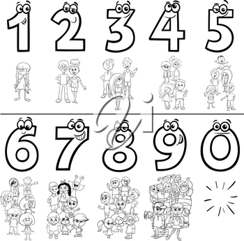 Black and White Cartoon Illustration of Educational Numbers Set from One to Nine with Children and Teen Characters Coloring Book Page