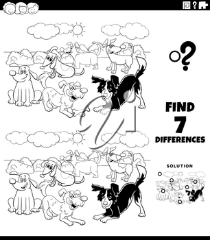 Black and White Cartoon Illustration of Finding Differences Between Pictures Educational Task for Children with Funny Dog Characters Group Coloring Book Page